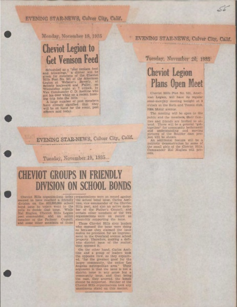 History of the Cheviot Hills Post #501 The American Legion, Fiscal Years 1934-1937